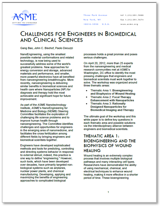 Challenges for Engineers in Biomedical and Clinical Sciences white paper cover