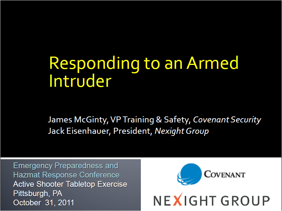 Responding to an Armed Intruder tabletop exercise presentation