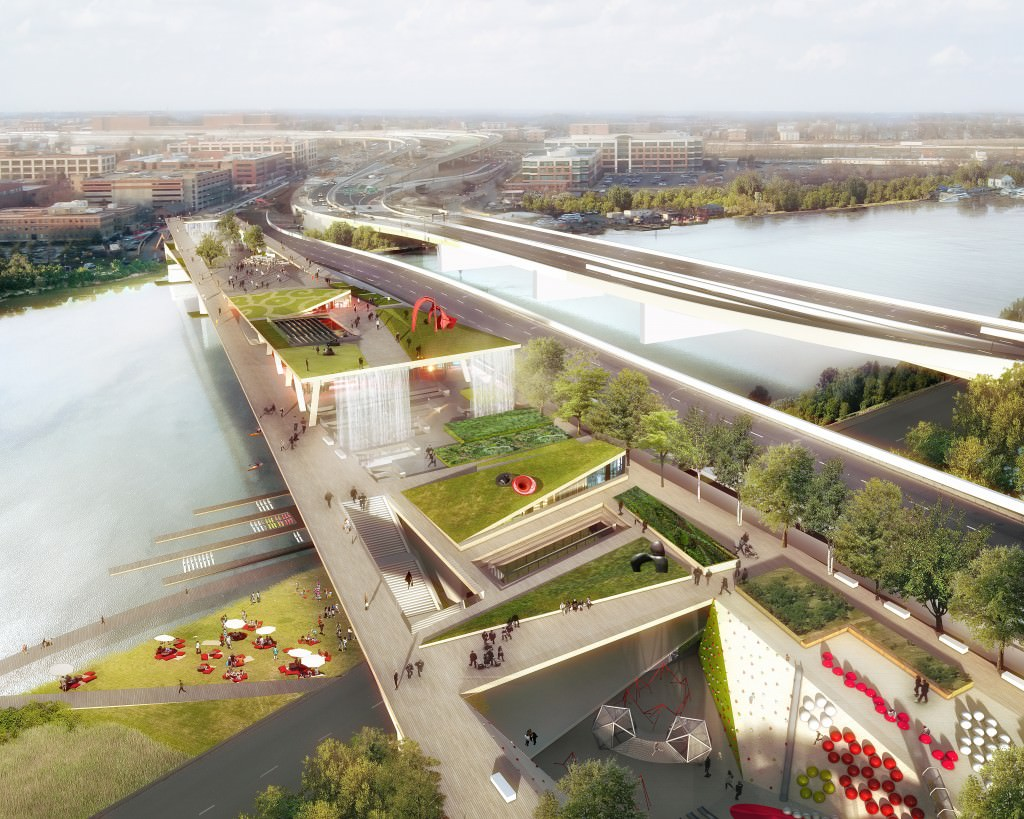 A rendering of OMA and Olin's 11th Street Bridge Park design