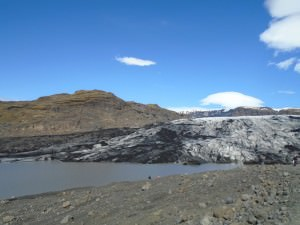 The Sólheimajökull glacier  as seen from the start of our hike.