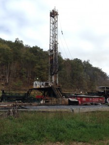 Active fracking well site in Alma, WV